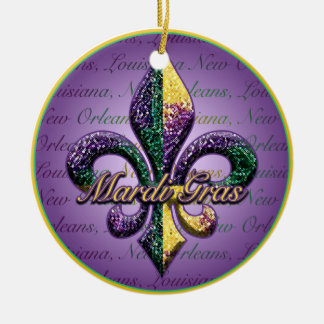 Fleur de lis Mardi Gras beads Christmas Ornaments
