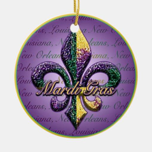 Fleur de lis Mardi Gras beads Double-Sided Ceramic Round Christmas Ornament