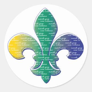 Fleur De Lis Mardi Gras New Orleans Classic Round Sticker
