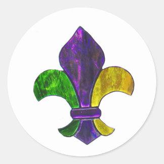 Fleur De Lis Mardi Gras New Orleans Jewel Sparkle Classic Round Sticker