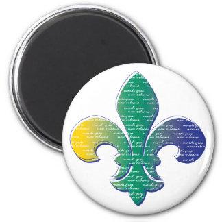 Fleur De Lis Mardi Gras New Orleans 2 Inch Round Magnet
