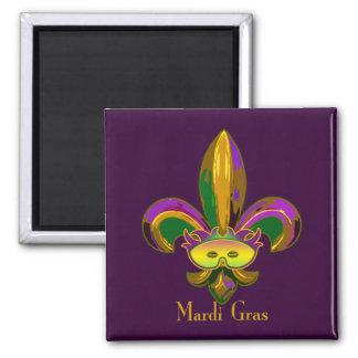 Fleur de lis Mask 2 Inch Square Magnet