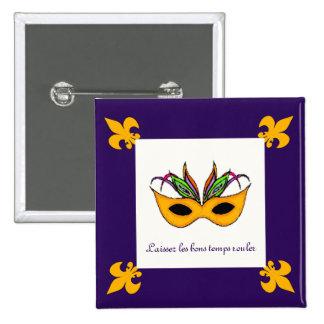 Fleur de Lis Mask Mardi Gras buttons