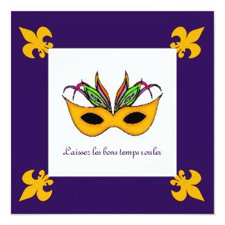 Fleur de Lis Mask Mardi Gras Party Card