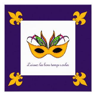Fleur de Lis Mask Mardi Gras Party Personalized Invites