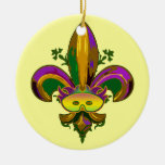 Fleur de lis Mask Double-Sided Ceramic Round Christmas Ornament