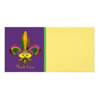 Fleur de lis Mask Personalized Photo Card