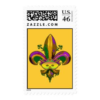Fleur de lis Mask Postage Stamp