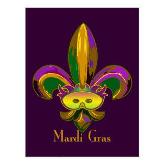 Fleur de lis Mask Post Card