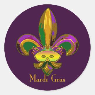 Fleur de lis Mask Round Stickers