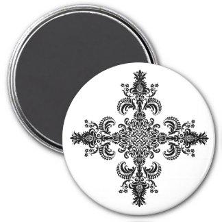 Fleur de lis Meditation 4 corners 3 Inch Round Magnet
