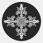 Fleur de lis Meditation 4 corners Round Stickers
