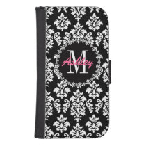 Fleur de Lis Monogram Damask Pattern Galaxy S4 Wallet Case