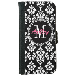 Fleur de Lis Monogram Damask Pattern Wallet Phone Case For iPhone 6/6s