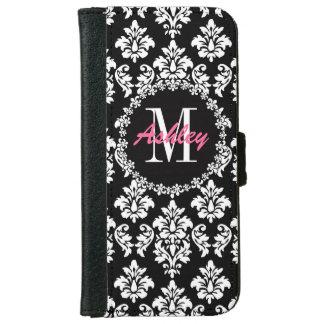 Fleur de Lis Monogram Damask Pattern Wallet Phone Case For iPhone 6/6s