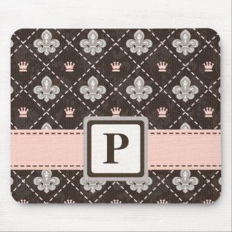 Fleur De Lis Monogram Mouse Pad Pink Ribbon mousepad