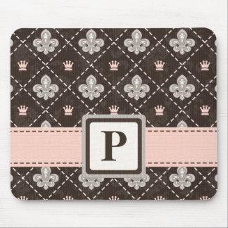 Fleur De Lis Monogram Mouse Pad Pink Ribbon
