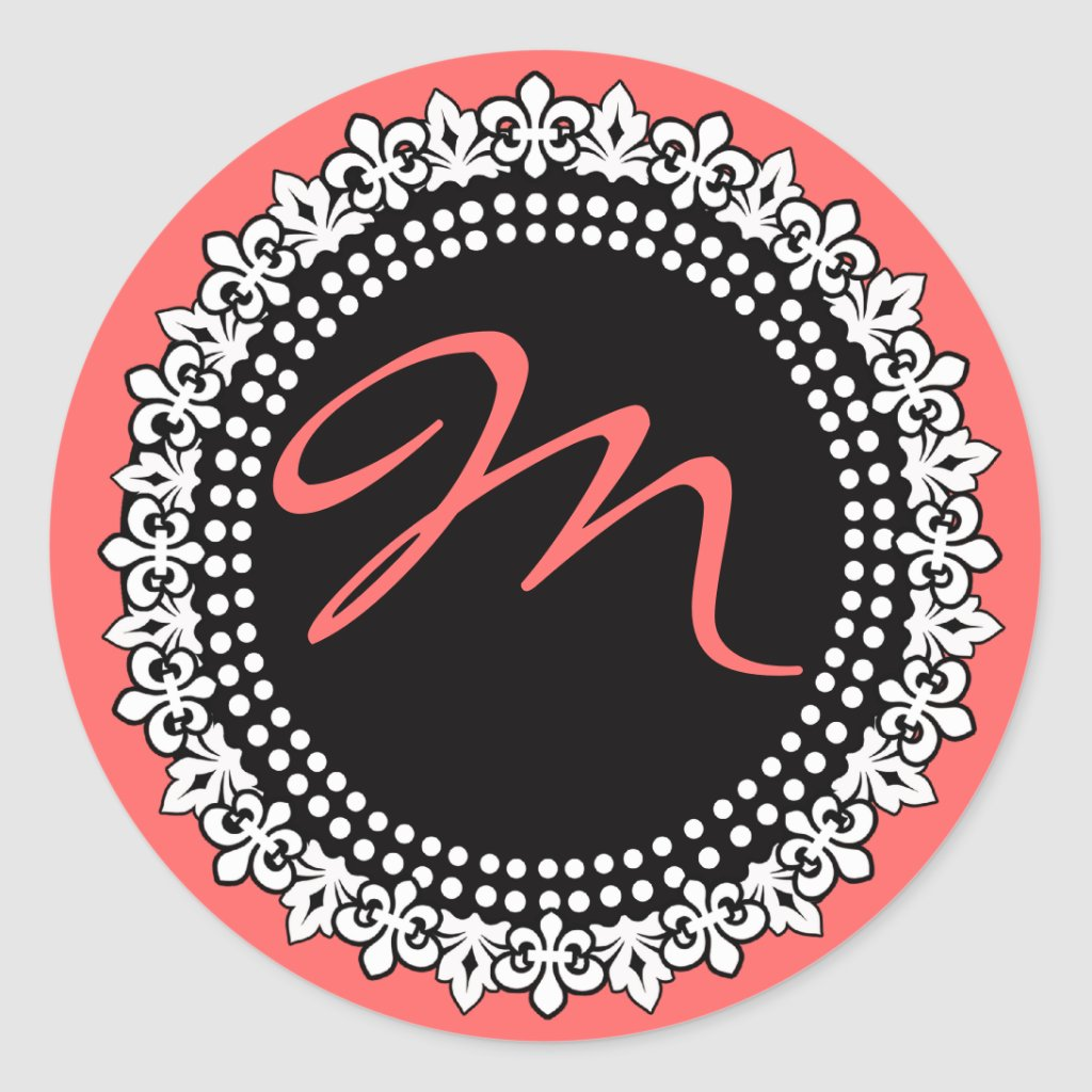 Fleur de Lis Monogram Wedding Sticker