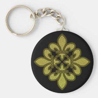 Fleur de lis Mosaic Art Basic Round Button Keychain