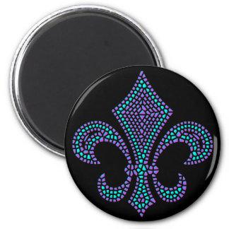 Fleur De Lis Mosaic Bevel Pastel 2 Inch Round Magnet