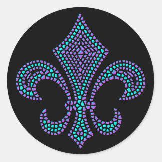 Fleur De Lis Mosaic Bevel Pastel Classic Round Sticker