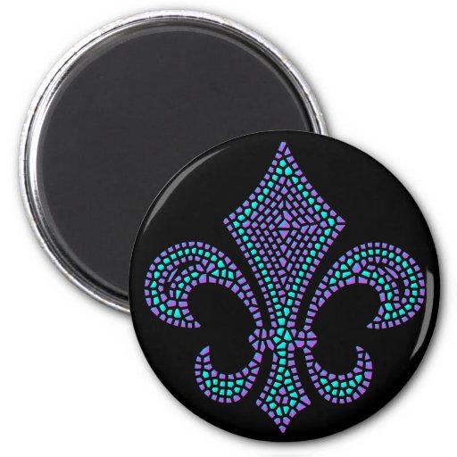 Fleur De Lis Mosaic Bevel Pastel Magnets