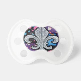 Fleur De Lis Mosaic Tile Purple  paint Pacifiers