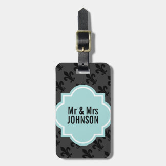 Fleur de lis Mr and Mrs travel luggage tags