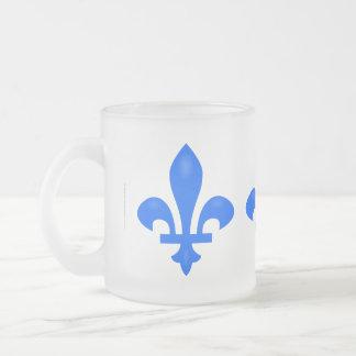 Fleur de lis 10 oz frosted glass coffee mug