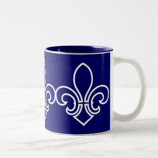 Fleur de Lis Two-Tone Coffee Mug