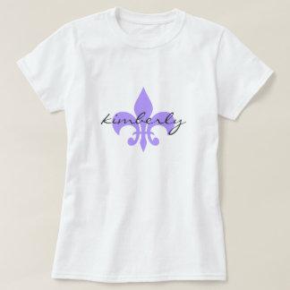 Fleur-De-Lis Name Monogram - Purple T-Shirt