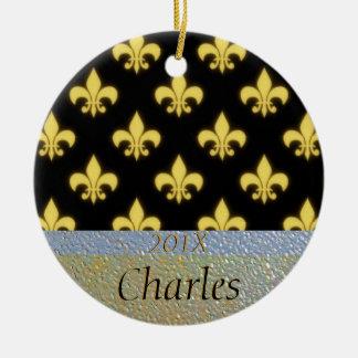 Fleur de Lis New Orleans Black Gold Personalized Double-Sided Ceramic Round Christmas Ornament
