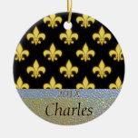 Fleur de Lis New Orleans Black Gold Personalized Ornaments