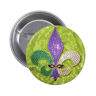 Fleur De Lis  New Orleans Jewel Sparkle 2 Inch Round Button