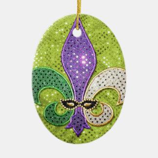 Fleur De Lis  New Orleans Jewel Sparkle Double-Sided Oval Ceramic Christmas Ornament
