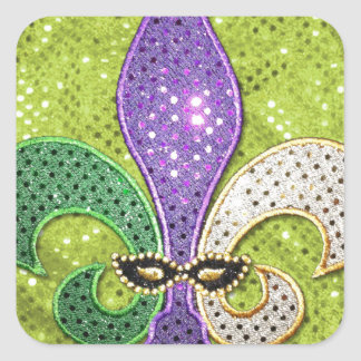 Fleur De Lis  New Orleans Jewel Sparkle Square Sticker
