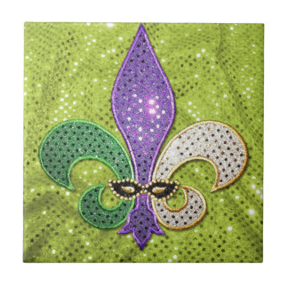 Fleur De Lis  New Orleans Jewel Sparkle Tile