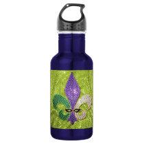 Fleur De Lis  New Orleans Jewel Sparkle Water Bottle