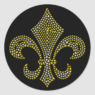Fleur De Lis NOLA Bevel Classic Round Sticker
