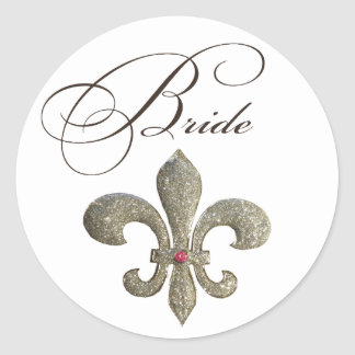 Fleur de lis NOLA Bride Bling Classic Round Sticker