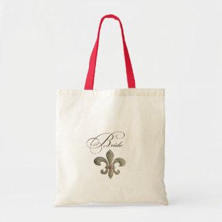 Fleur de lis NOLA Bride Bling Tote Bags