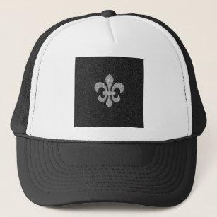 fleur-de-lis on black and white glittery effect trucker hat 883306665bdd