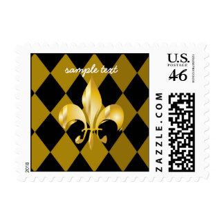 Fleur de Lis on Black + Gold Harlequin Postage