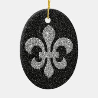 fleur-de-lis on black white glittery effect Double-Sided oval ceramic christmas ornament
