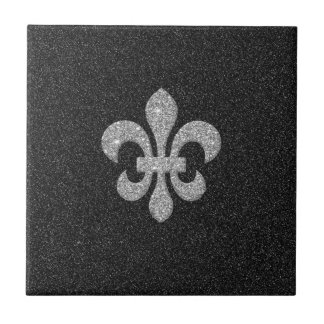 fleur-de-lis on black white glittery effect tile