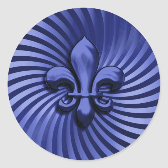 Fleur de Lis on Blue Background Classic Round Sticker