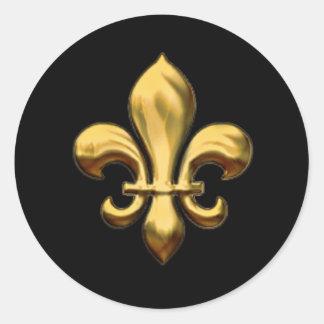 Fleur de Lis on Changeable Background Classic Round Sticker