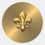 Fleur de Lis on Gold Background Classic Round Sticker