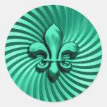 Fleur de Lis on Green Background Classic Round Sticker