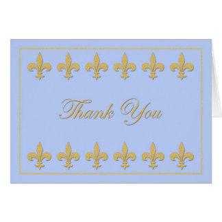 Fleur-de-lis on Light Blue Thank You Card